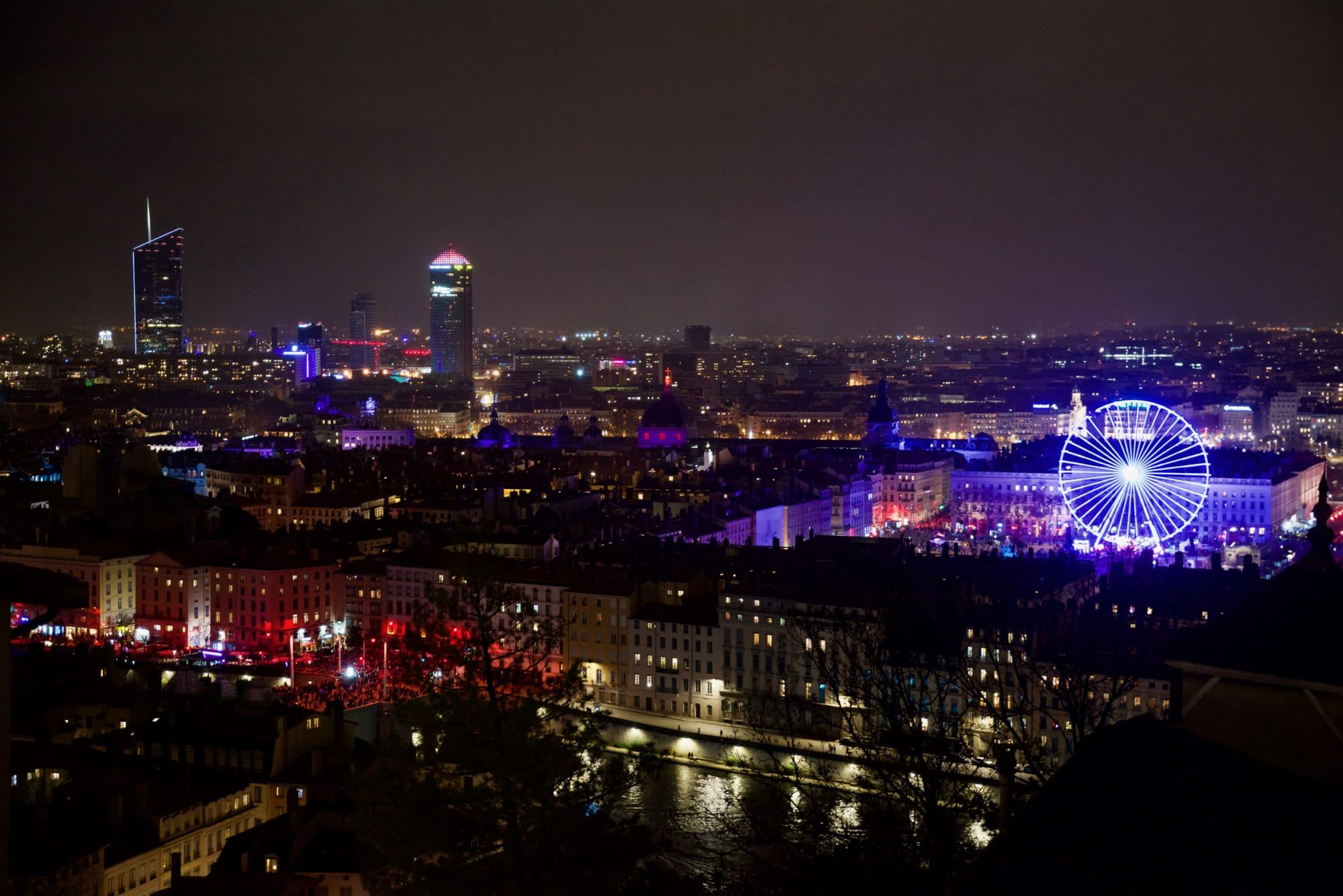 Lyone di notte durante la Fête des Lumières